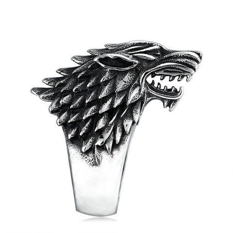 3D Stark Silver Wolf Ring - American Wolves