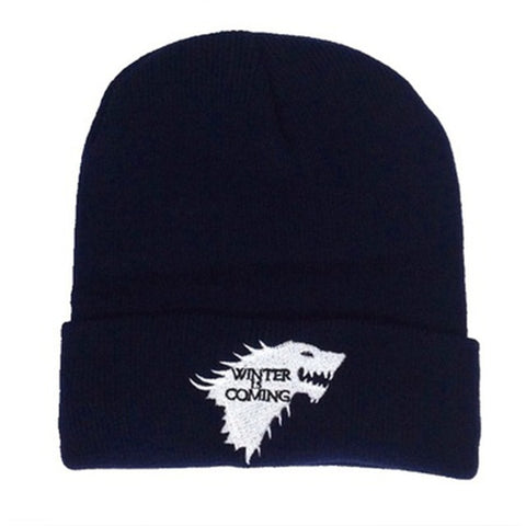 Black Winter Is Coming Stark Wolf Beanie - American Wolves