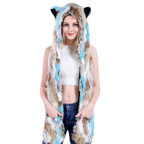 Blue & Brown Faux Fur Wolf Hat - American Wolves