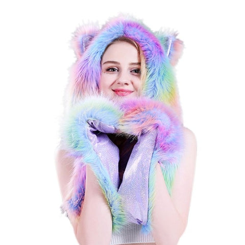 Purple Rainbow Faux Fur Wolf Hat - American Wolves