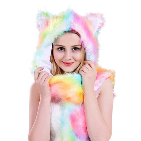 Pink Rainbow Faux Fur Wolf Hat - American Wolves