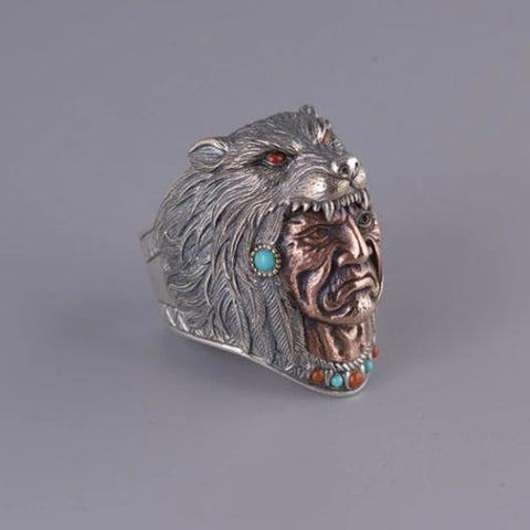 Native Indian Shaman Wolf Ring - American Wolves