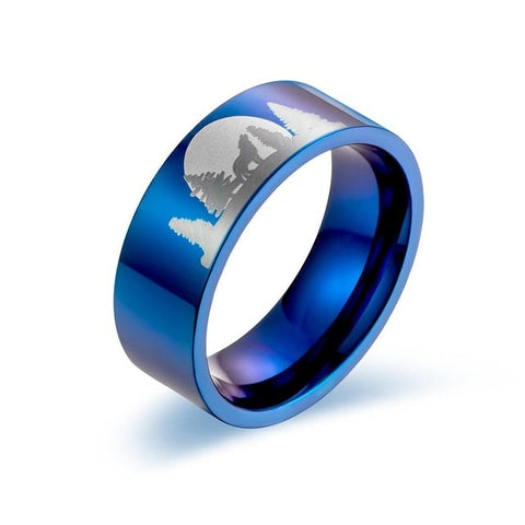 Blue Titanium Wild Wolf Ring - American Wolves