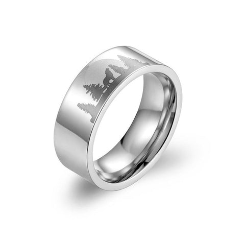Silver Titanium Wild Wolf Ring - American Wolves
