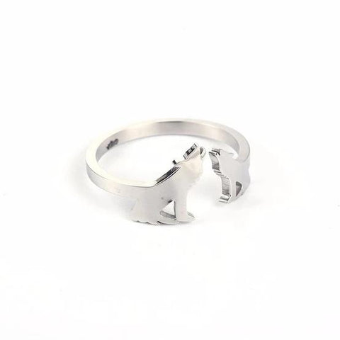 Silver Adjustable Howling Wolf Wedding Ring - American Wolves