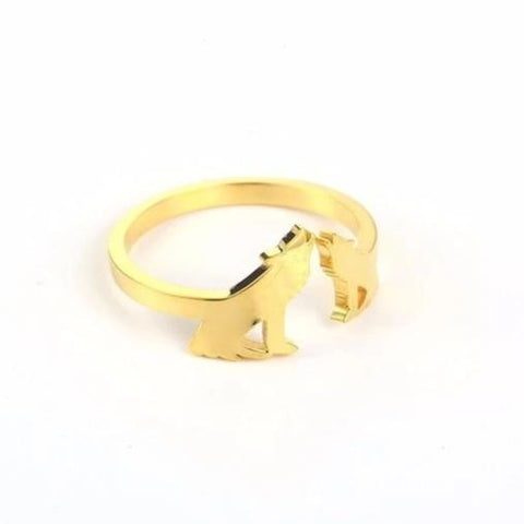 Gold Adjustable Howling Wolf Wedding Ring - American Wolves