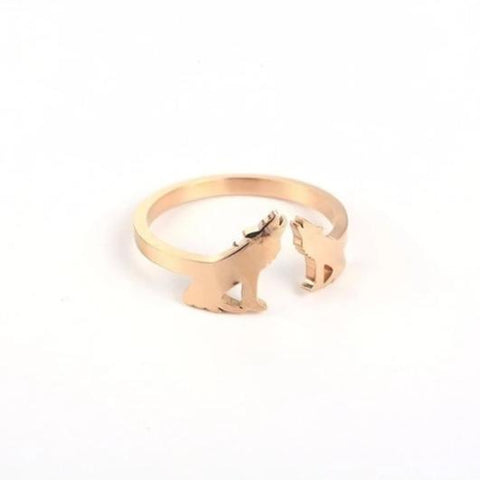 Rose Gold Adjustable Howling Wolf Wedding Ring - American Wolves