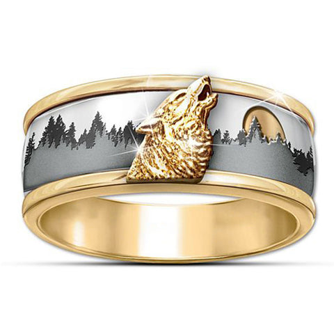 Into The Wild Gold Wolf Ring - American Wolves