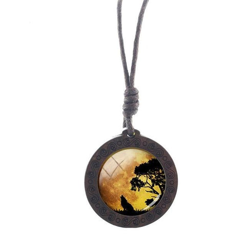 Charm Yellow Sky Wolf Necklace - American Wolves
