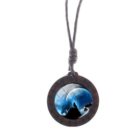 Charm Moon Wolf Necklace - American Wolves