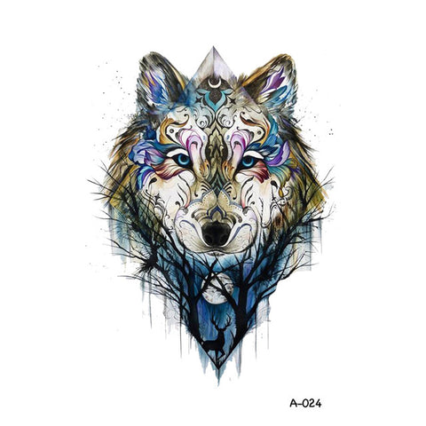 Spirit Guide Temporary Wolf Tattoo - American Wolves