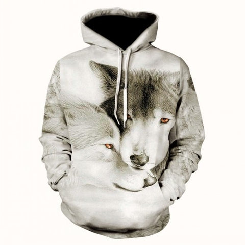 Snow Couple Wolf Hoodie