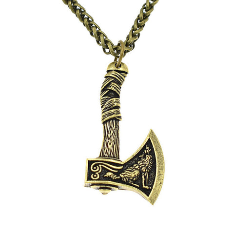 Fenrir Nordic Axe Copper Wolf Necklace - American Wolves