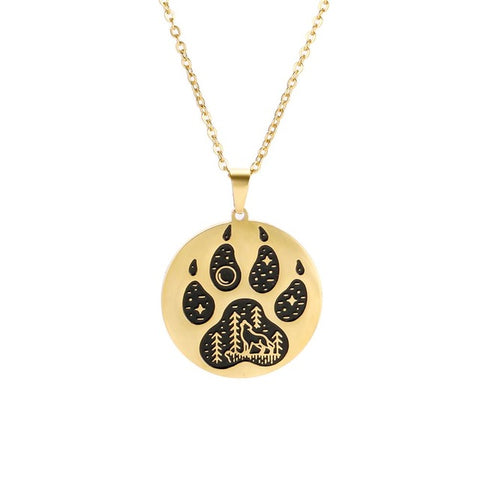 The Paw Gold & Black Wolf Necklace - American Wolves