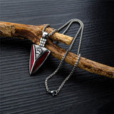 Red Steel Nordic Knife Wolf Necklace - American Wolves