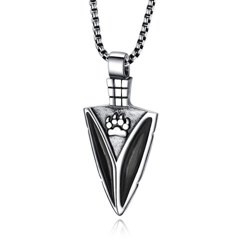 Black Steel Nordic Knife Wolf Necklace - American Wolves