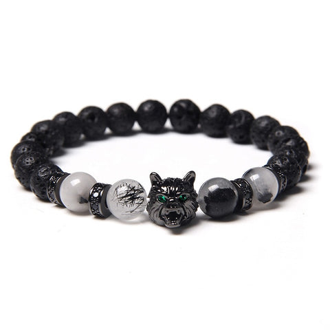 Black & Rutilated Stones Wolf Bracelet