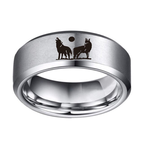 Gray Howling Brothers Silver Wolf Ring