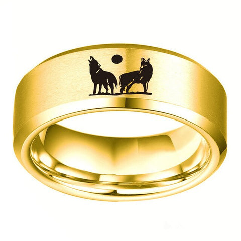 Howling Brothers Gold Wolf Ring