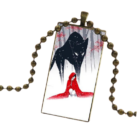 Little Red Riding Hood Gold Wolf Necklace