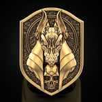 Mythical Anubis Gold Wolf Ring