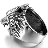 The Hunters Silver Wolf Ring - American Wolves