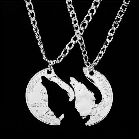 2 Pieces Hand Cut Howling Wolf Necklace - American Wolves
