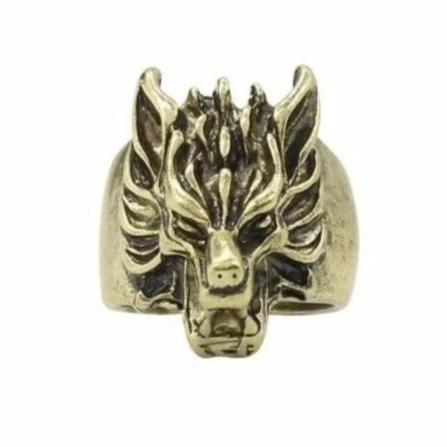 Vintage Gold Wolf Ring - American Wolves
