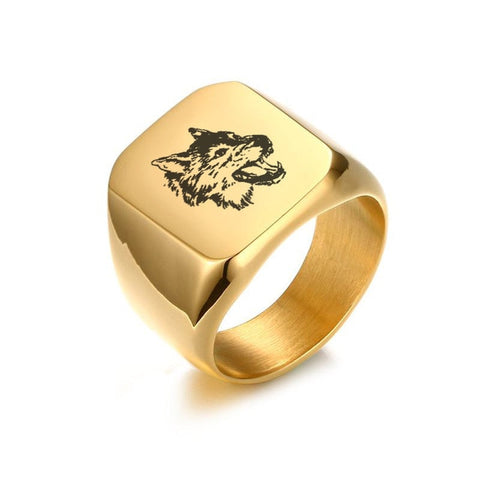 Gold Growling Wolf Signet Ring - American Wolves