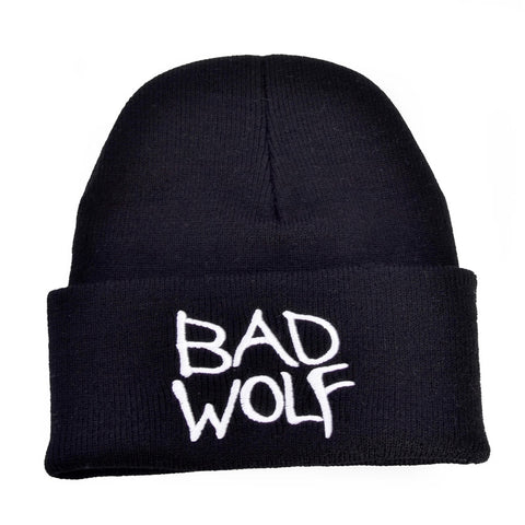 Black Embroidered Bad Wolf Beanie - American Wolves