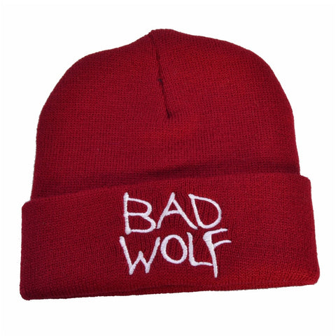 Red Embroidered Bad Wolf Beanie - American Wolves