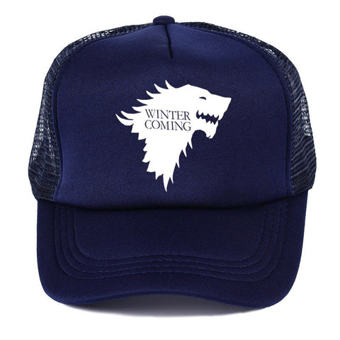 Navy Blue Stark Trucker Wolf Hat - American Wolves