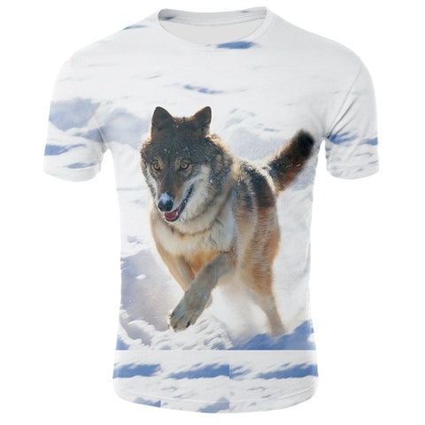 Snow Hunting Wolf T-Shirt - American Wolves