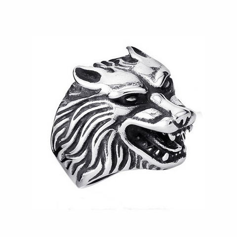 Silver Alpha Wolf Ring - American Wolves