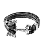 Silver Double Headed Wolf Leather Bracelet - American Wolves