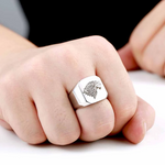 House Stark Signet SIlver Wolf Ring - American Wolves