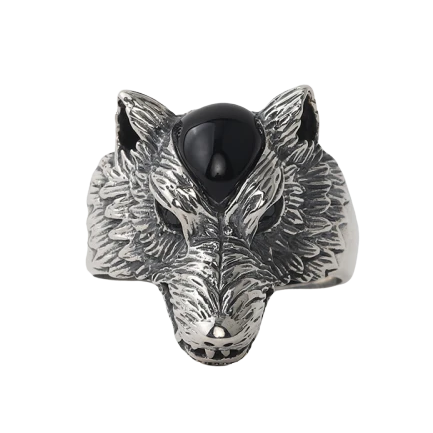 The Seer Silver Wolf Ring - American Wolves