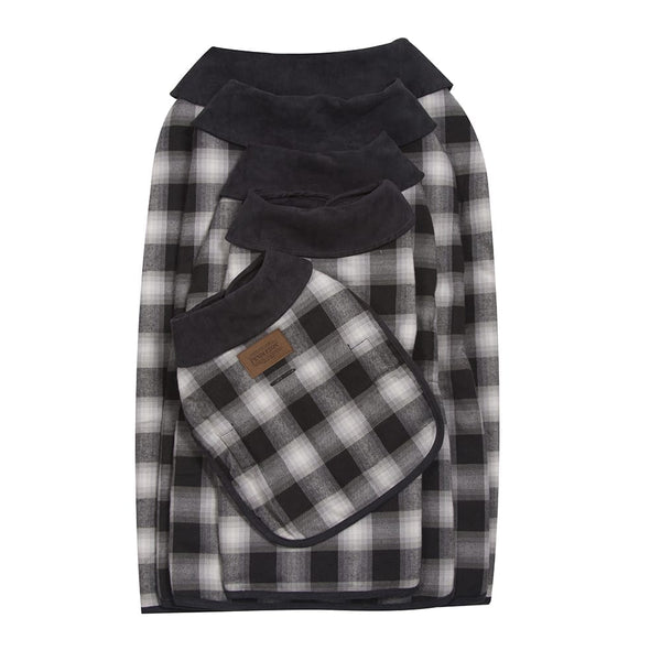Charcoal Ombre Plaid Dog Coat