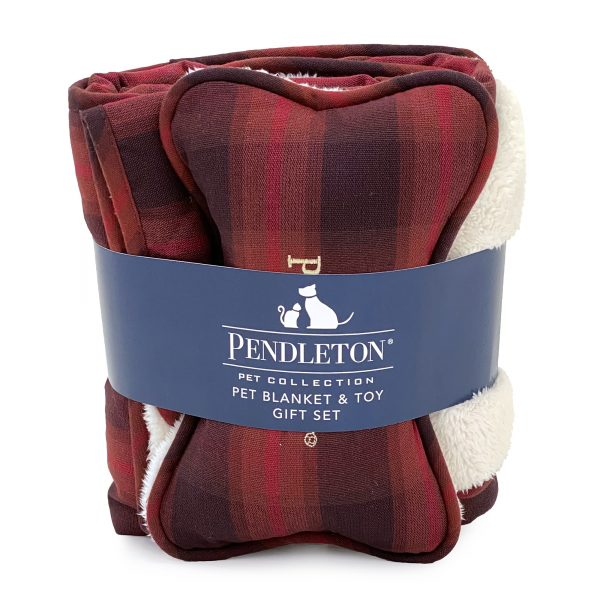Pendleton® Pet Red Ombre Plaid Throw + Bone