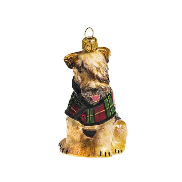 Soft Coated Wheaten in Tartan Plaid Coat Glass Dog Ornament