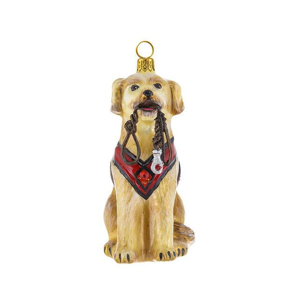 Yellow Lab Ornament with Vest & Leash