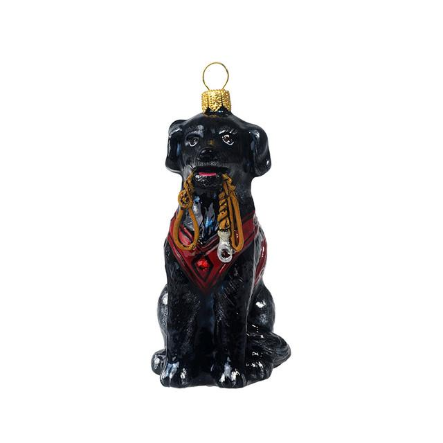 Black Lab Glass Ornament with Vest & Leash