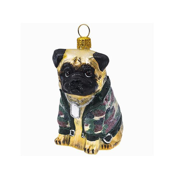 Fawn Pug Ornament in Camouflage Jacket