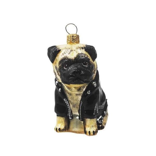 Fawn Pug Ornament in Motorcycle Jacket