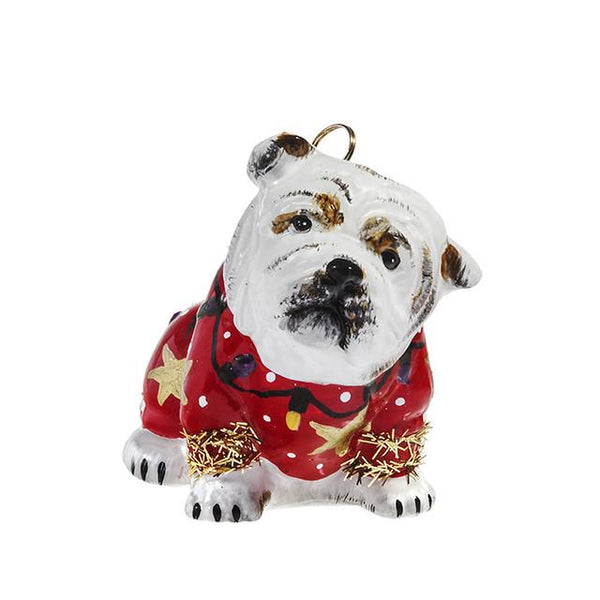 Bulldog Ornament in Ugly Christmas Sweater