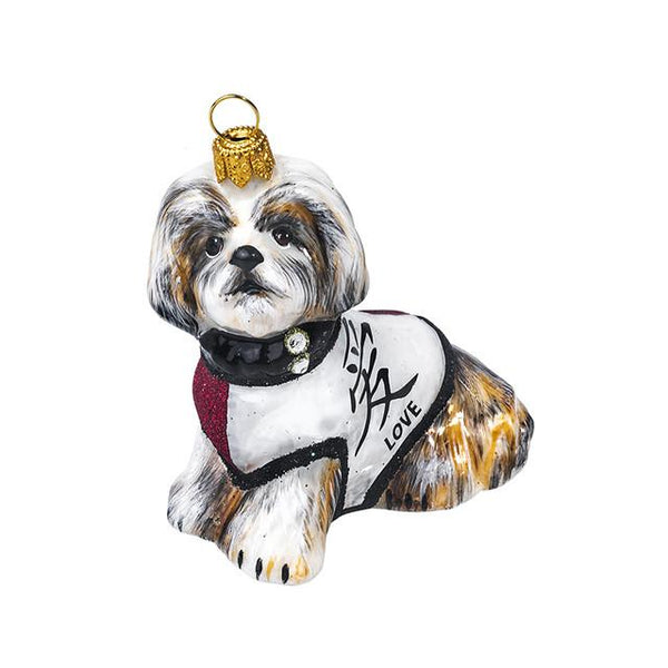 "Shih Tzu Ornament with ""Love"" Symbol in Japanese"