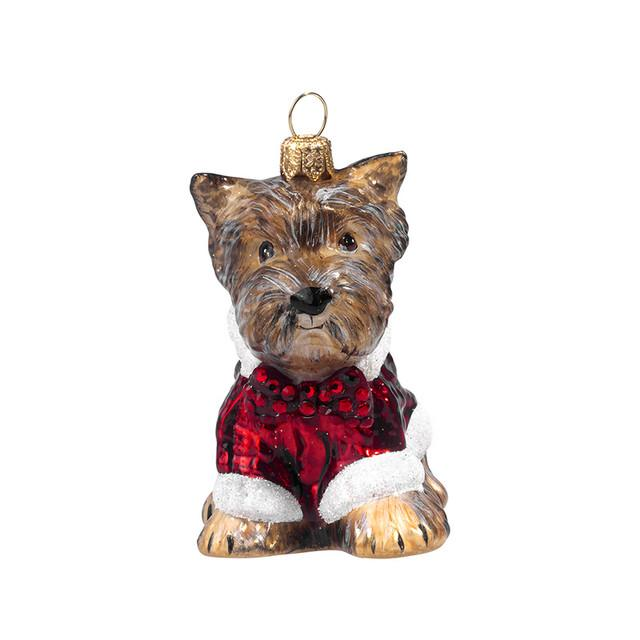 Yorkie Terrier Ornament with Candy Cane Sweater