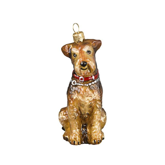 Airedale Glass Christmas Ornament