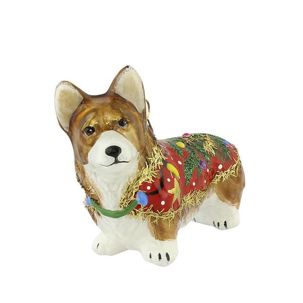 Pembroke Corgi Ornament in Ugly Christmas Sweater