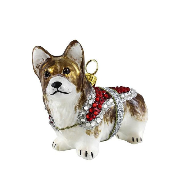 Pembroke Welsh Corgi Ornament with Crystal Coat